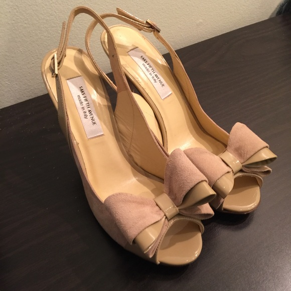 Saks fifth avenue designer bow heels size 8